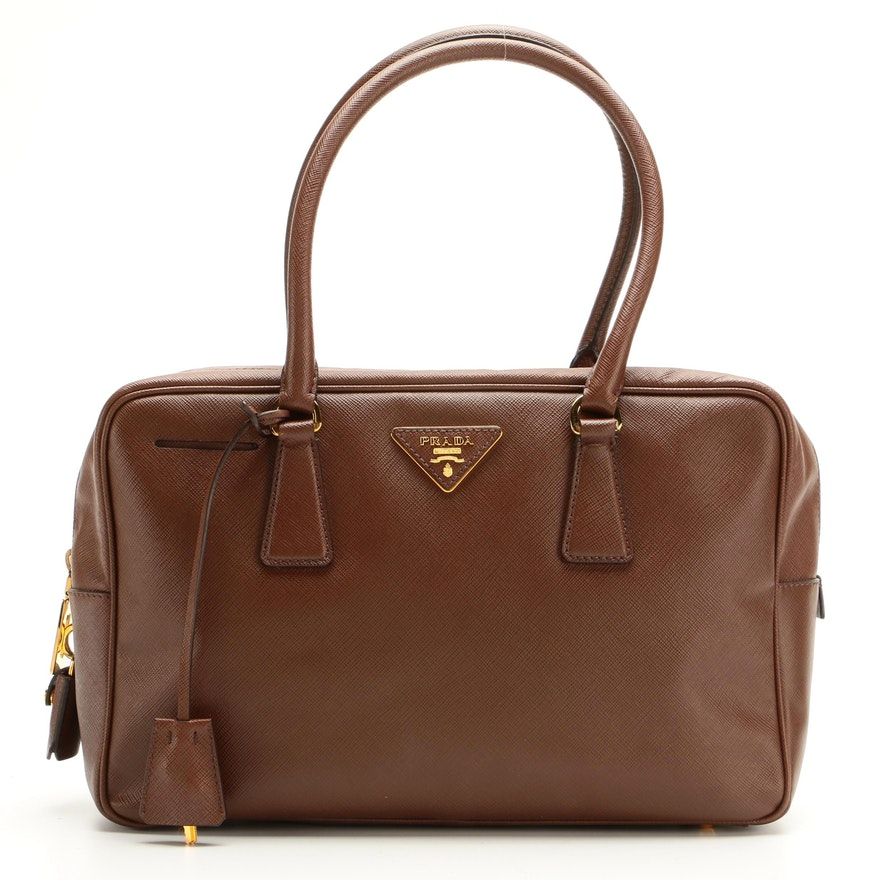 Prada Saffiano Vernice Leather TV Bag in Brown