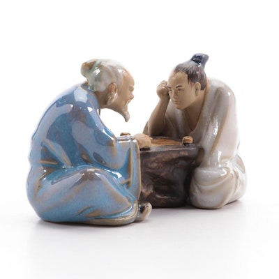 Chinese Shiwan Ware Go Players Figurine, Late 20th Century