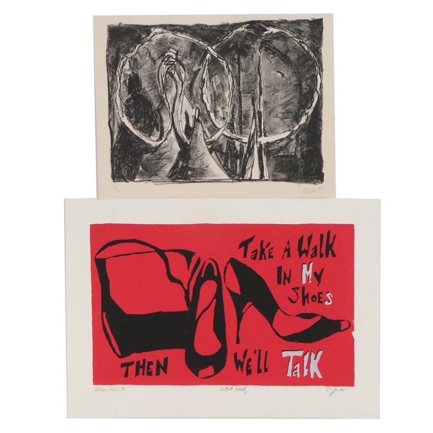 Abstract Lithograph and Feminist Serigraph