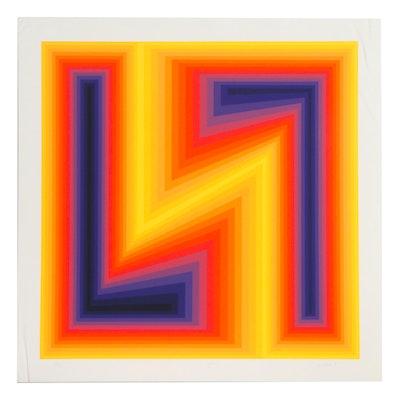 """Jurgen Peters Op Art Serigraph """"Lightening,"""" 1978"""