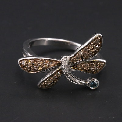 Sterling Silver Diamond Dragonfly Ring
