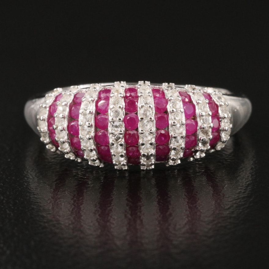 Sterling Ruby and Sapphire Striped Band