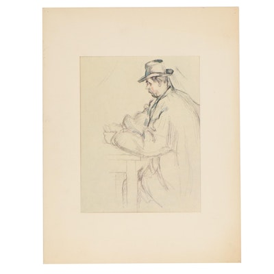 """Offset Lithograph after Paul Cezanne """"Study for Card Players"""""""
