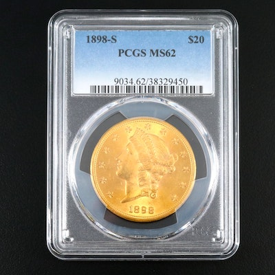 PCGS Graded MS62 1898-S Liberty Head $20 Double Eagle Gold Coin