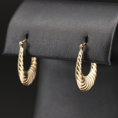 10K Fluted Hoop Earrings