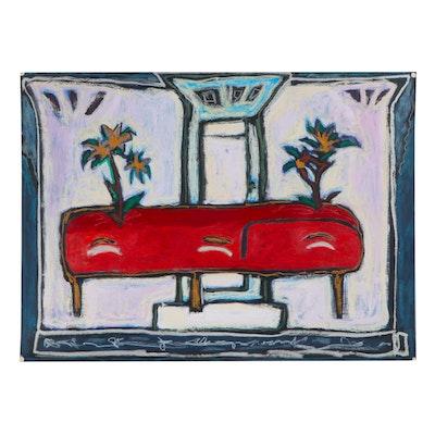 """Judith Huacuja Mixed Media Painting """"At the Long Table,"""" 1989"""