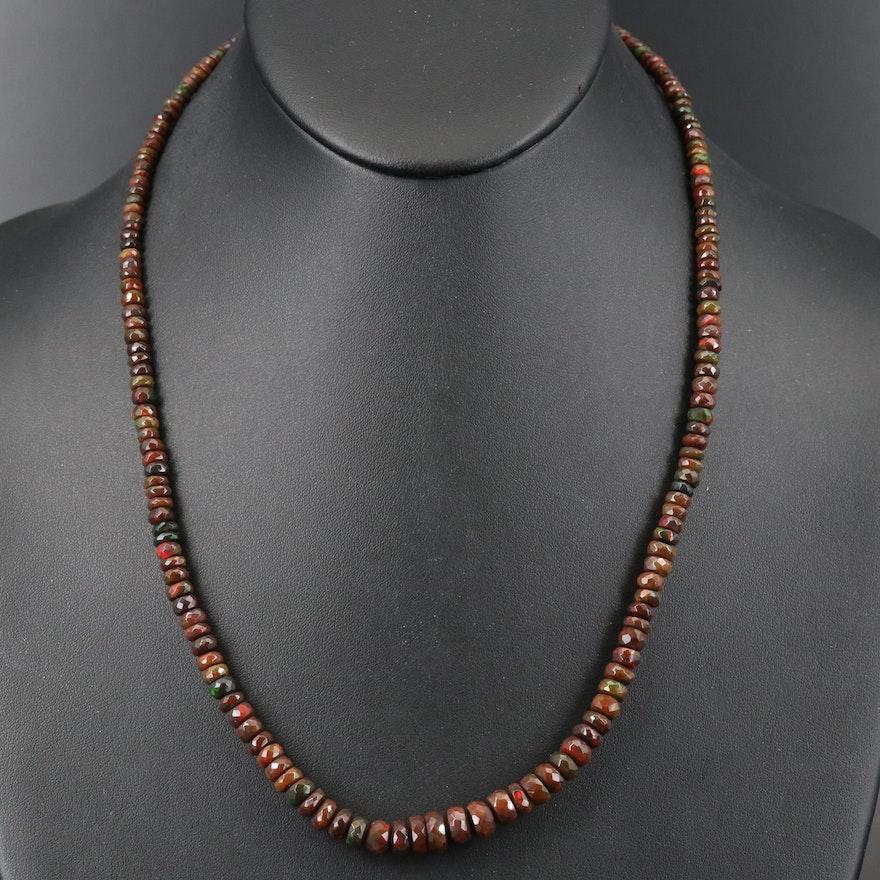 Sterling Graduated Opal Adjustable Necklace