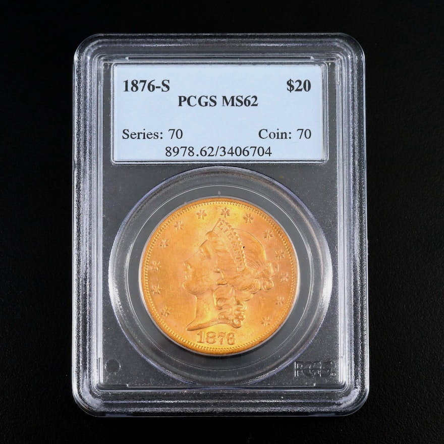 PCGS Graded MS62 1876-S Liberty Head $20 Double Eagle Gold Coin