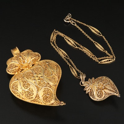 833 and 916 Silver Filigree Heart Pendants with Chain