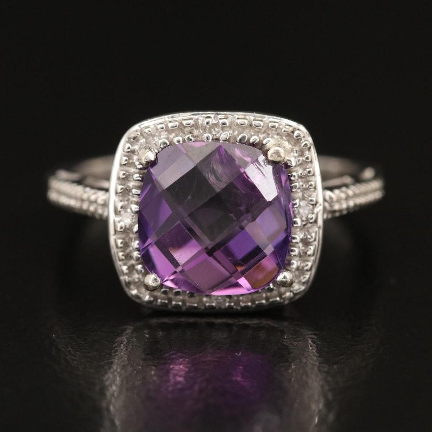 10K Amethyst and Diamond Halo Ring