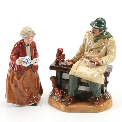 """Royal Doulton """"Lunchtime"""" and """"Teatime"""" Porcelain Figurines"""