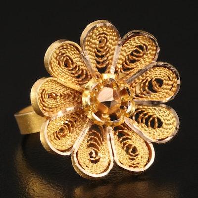 14K Floral Filigree Ring