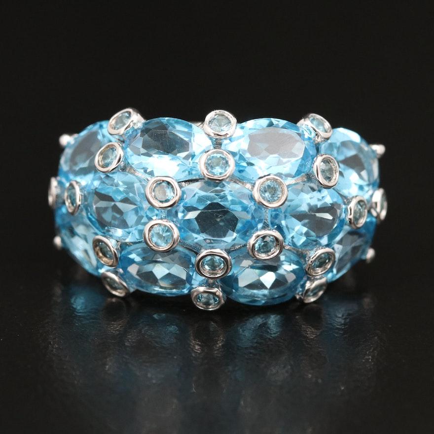 Sterling Swiss Blue Topaz Bombe Ring