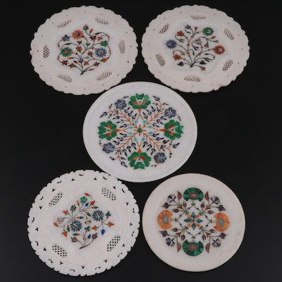Carved Marble Plates with Abalone, Malachite, Lapis, MOP and Other Stone Inlay
