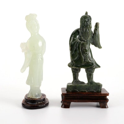 Chinese Carved Bowenite Guan Yin and Nephrite Fisherman Figurine