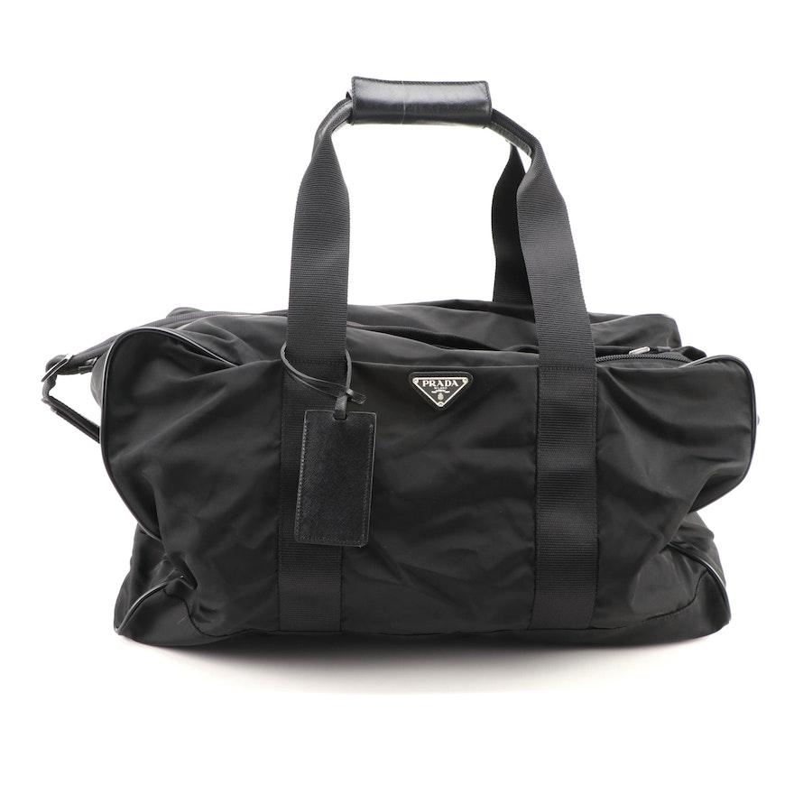 Prada Duffle Bag in Black Tessuto Nylon and Saffiano Leather
