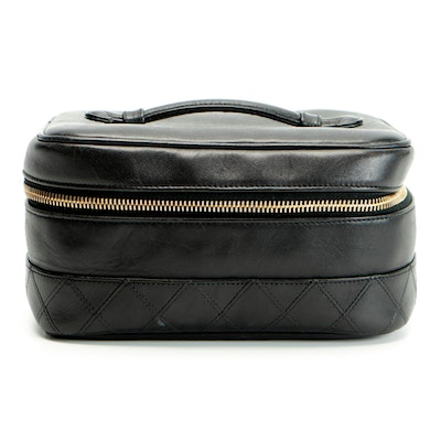 Chanel Timeless Vanity Case in Quilted Black Leather