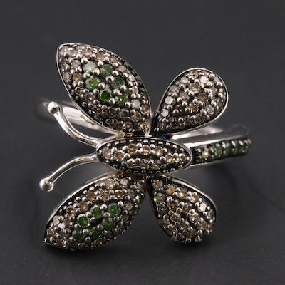 Sterling Brown and Green Diamond Butterfly Ring