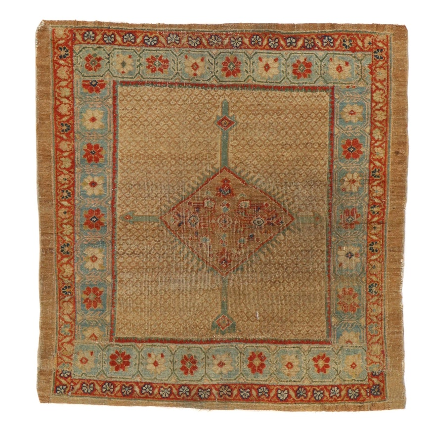 3'7 x 3'8 Hand-Knotted Northwest Persian Bakhshayesh Rug, 1910s