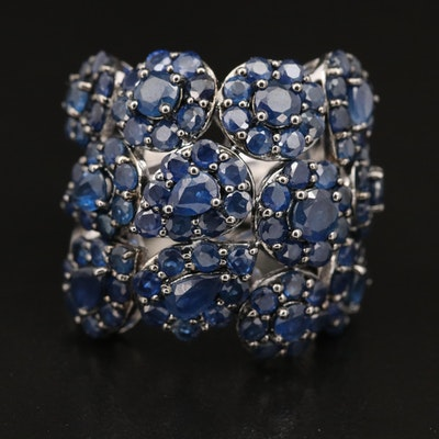 Sterling and Sapphire Bombé Ring