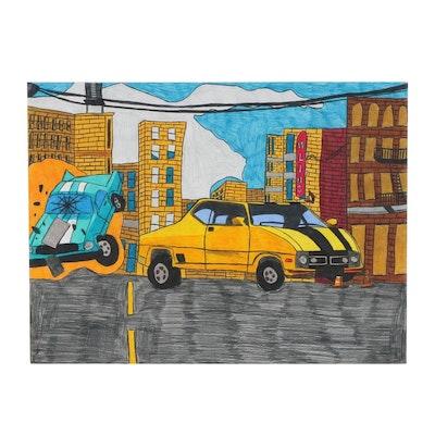 Darian Johnson Outsider Art Crayon and Marker Drawing