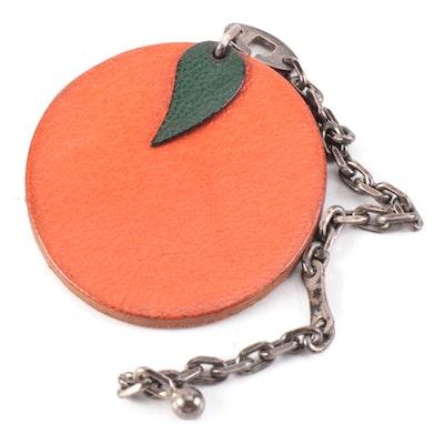 Hermès Orange Charm Keychain in Chevre Mysore Leather