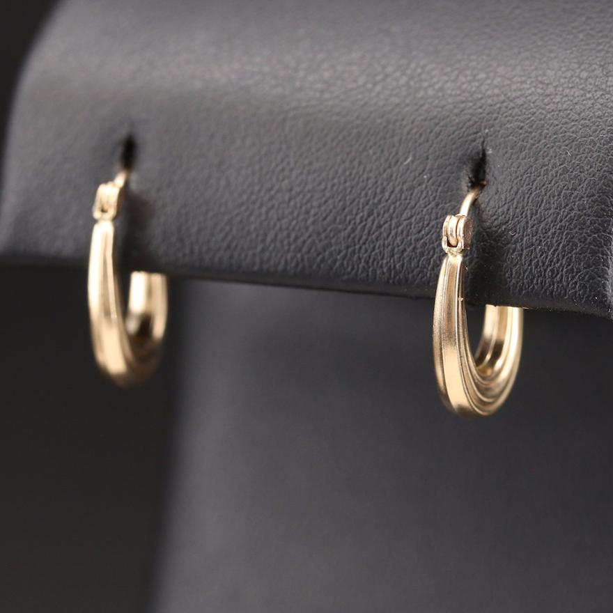 14K Fluted Oval Hoop Earrings