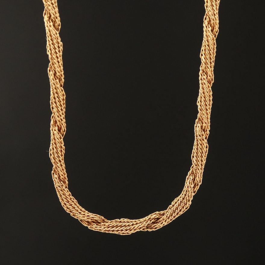 18K Twisted Fancy Link Necklace