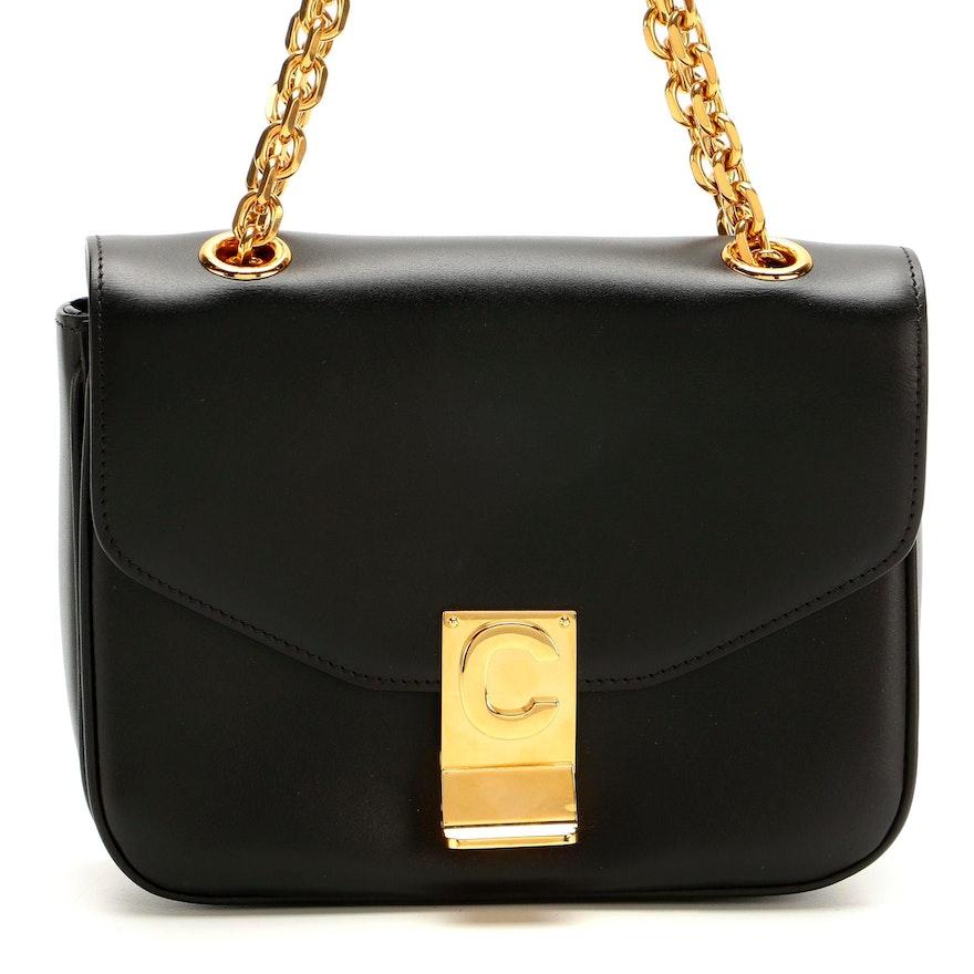 Celine Small C Flap Bag in Polished Black Calfskin Leather