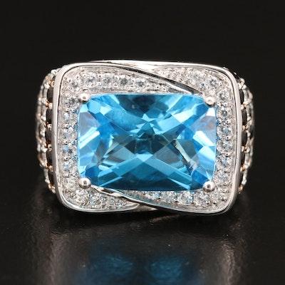 Sterling Gemstone Ring with Topaz, Zircon and Smoky Quartz