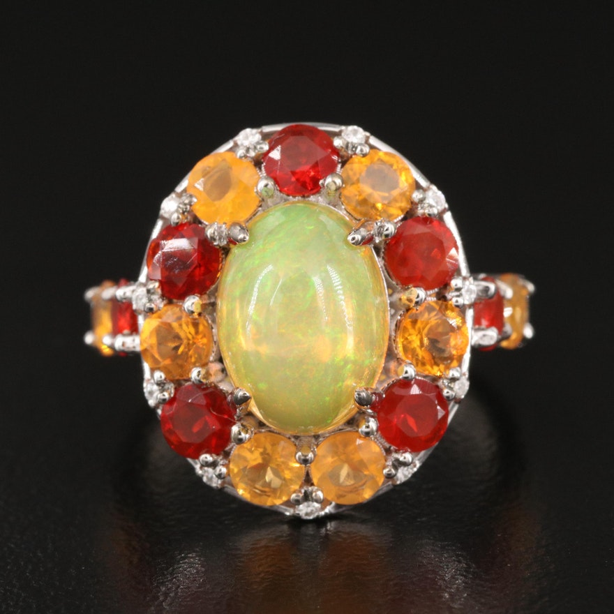 Sterling Opal Halo Ring