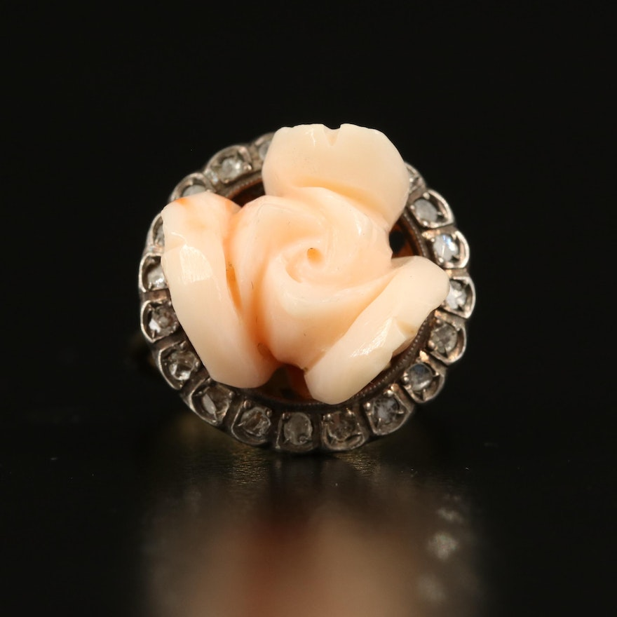 18K Coral and Diamond Flower Ring with Sterling Accent