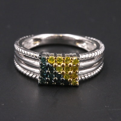 Sterling Blue and Yellow Diamond Ring