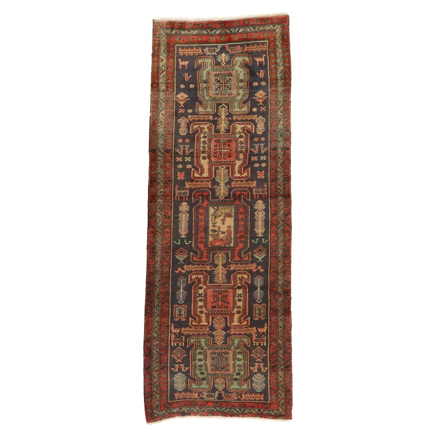 3'6 x 9'8 Hand-Knotted North West Persian Long Rug, 1960s
