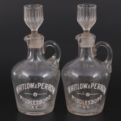 Whitlow & Perrow Bourbon Whiskey Glass Bottles,  Early to Mid 20th Century