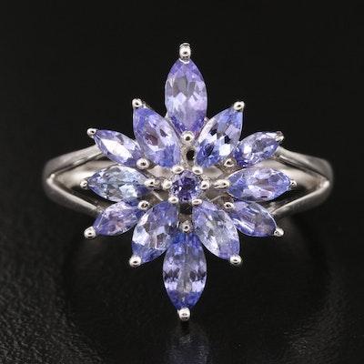 Sterling Tanzanite Cluster Ring