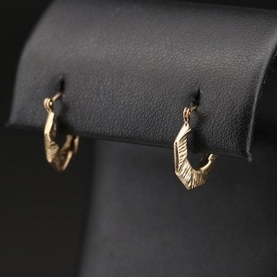 14K Diamond Cut Octagonal Hoop Earrings