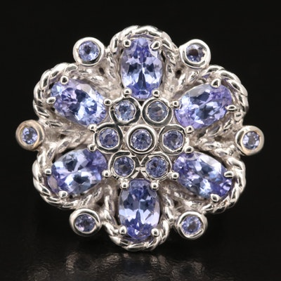 Sterling Silver Tanzanite Floral Cluster Ring