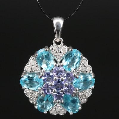 Sterling Silver Tanzanite, Apatite and Diamond Pendant