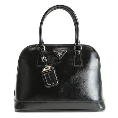 Prada Black Saffiano Patent Leather Handbag