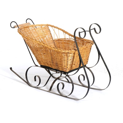 Wicker Rattan and Wrought Iron Sleigh Basket