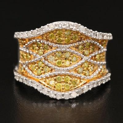 Sterling Yellow Diamond and Diamond Saddle Ring
