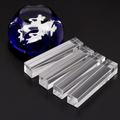 """Baccarat """"Vega"""" Crystal Knife Rests and """"Virgo"""" Zodiac Paperweight"""