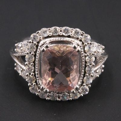 Sterling Morganite and Zircon Ring
