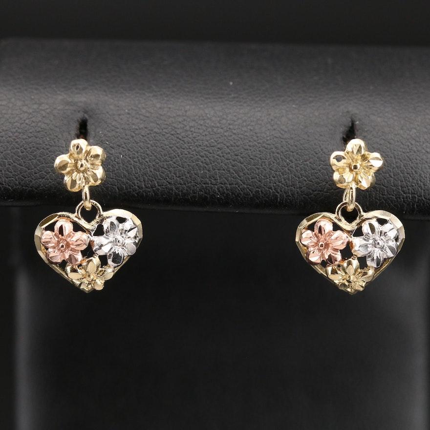 10K Tri-Colored Heart Earrings