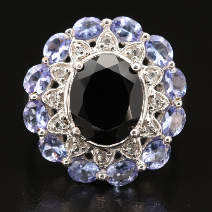 Sterling Spinel, Tanzanite and Topaz Ring