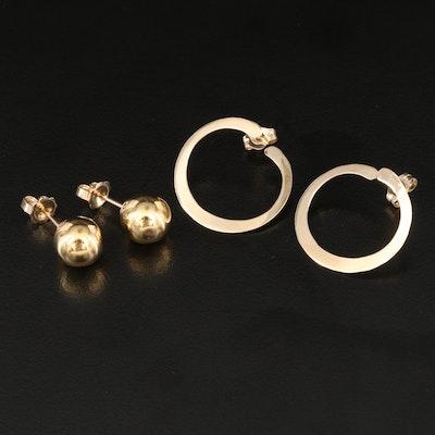 14K Hoop and Sphere Stud Earrings