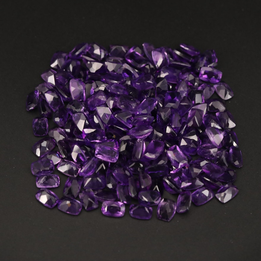 Loose 79.19 CTW Cushion Faceted Amethysts