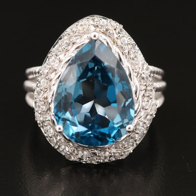 Sterling London Blue Topaz and Zircon Ring