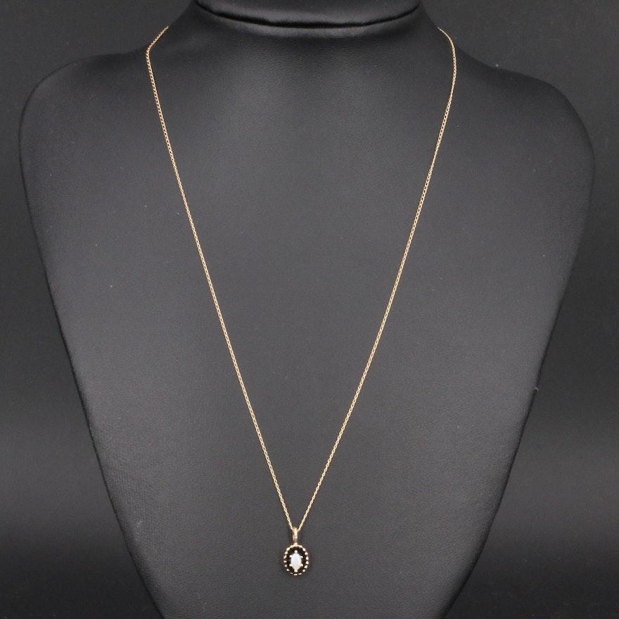 14K Opal Pendant on 10K Chain Necklace